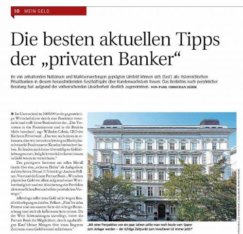 """Kurier-Magazin: MEIN GELD – Die besten aktuellen Tipps der """"privaten Banker""""."""